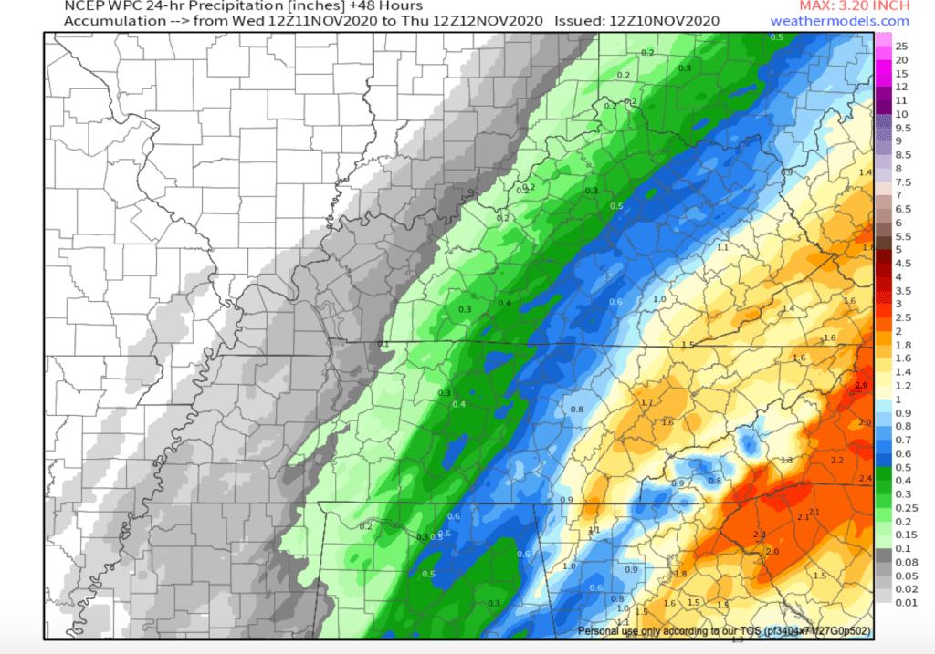 24 Hour Precipitation Model Tues-Wed.